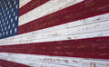American or united states flag painted on a wooden plank wall an in red white and blue Stock Images