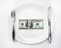 American us dollar on the white plate Royalty Free Stock Photo