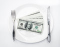 American us dollars on the white plate Royalty Free Stock Image