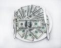 American us dollars on the white plate Royalty Free Stock Photos