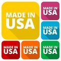American USA Made text design icons set with long shadow Royalty Free Stock Photo