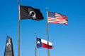 American veterans memorial flags the state of texas and prisoner of war remembrance fly next to a in texas these fly not Stock Photography