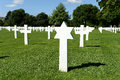 American war cemetery in france military ceremony with jewish grave foreground brittany Royalty Free Stock Photo