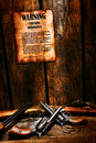 American west legend firearm ordinance and guns old legal poster with lawful weapon rules posted on sheriff office wood wall with Royalty Free Stock Photography
