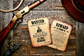 American west Legend Wanted and Reward Old Posters Stock Images