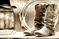 American West Rodeo Cowboy Boots at Old Ranch Barn Royalty Free Stock Photo