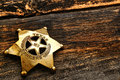 American west texas ranger antique lawman badge legend justice symbol brass with old lone star state flag engraving used by Royalty Free Stock Photo