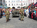 American wwii troops during parade in novy jicin czech republic Royalty Free Stock Photography