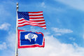 American and Wyoming State Flag Royalty Free Stock Photo