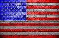 Americas Flag on Brick wall