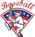 Amerikaans het Slaan van de Speler van het Honkbal Beeldverhaal Stock Fotografie
