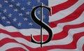 Amerikanischer Dollar und Markierungsfahne Stockbilder