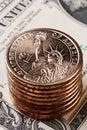 Amerikansk myntdollar Arkivbild
