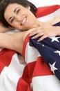 Amerikanska flaggankvinna Fotografering för Bildbyråer