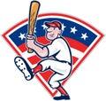Amerykańska Gracza Baseballa Uderzenie kijem Kreskówka Zdjęcia Royalty Free