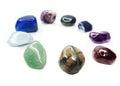Amethyst quartz garnet sodalite agate geological crystals avanturine semigem mineral Royalty Free Stock Photo