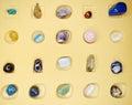 Amethyst quartz garnet sodalite agate geological crystals avanturine semigem mineral Royalty Free Stock Image