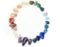 Amethyst quartz garnet sodalite agate geological crystals avanturine semigem mineral isolated Royalty Free Stock Photos
