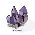 Amethyst shiny bright crystal. Purple quartz crystal. Isolated on white background vector iluustration Royalty Free Stock Photo