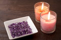 Amethyst and two candles Royalty Free Stock Photo
