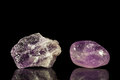 Amethyst uncut and tumble finishing with black background reflection Stock Photography