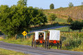 Amish Families Travel With Horse and Carriage Royalty Free Stock Photo