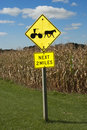Amish Farm Horse Drawn Buggy Road Sign Royalty Free Stock Photo