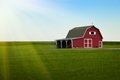 Amish Farm - Red barn and Green Field Sunrise Royalty Free Stock Photo