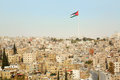 Amman city view with big Jordan flag Royalty Free Stock Photo