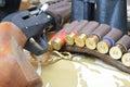 Ammo bag and gun Royalty Free Stock Photo