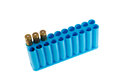 Ammo box blue with three rounds Stock Images