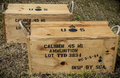 Ammunition two wooden military crates Royalty Free Stock Images