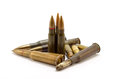 Ammunition on a white background in the vertical and horizontal position Royalty Free Stock Images