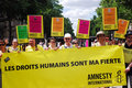 Amnesty International à la fierté homosexuelle 2009 de Paris Image libre de droits