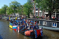 Amnesty international gay pride amsterdam august a boat of participates at canal parade of in the netherlands at the boat there is Royalty Free Stock Photos
