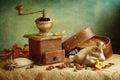 Amoladora de café antigua Foto de archivo libre de regalías