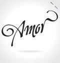 Amor hand lettering original custom handmade calligraphy Stock Photos