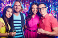 Amorous dates two couples toasting at nightclub Royalty Free Stock Photography