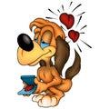 Amorous dog and gift Royalty Free Stock Photos