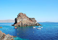 Amoudi bay rocky promontory in santorini island greece Stock Images