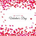 Amour Valentines day greeting card. Hearts confetti and label for text. Vector illustration