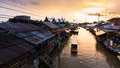 Ampawa floating market the on sunset time Royalty Free Stock Images