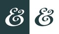 Ampersand hand drawn custom decorative symbol for wedding invitation vector illustration Stock Photos