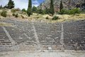 Amphitheater in Ancient Greek archaeological site of Delphi, Greece Royalty Free Stock Photo