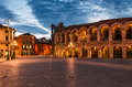 The amphitheatre completed in ad the third largest in the world at dusk time piazza bra and roman arena in verona italy Stock Image