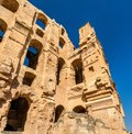 Amphitheatre of El Jem, a UNESCO world heritage site in Tunisia Royalty Free Stock Photo