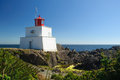 Amphitrite lighthouse historic in ucluelet vancouver island part of the wild pacific trail Royalty Free Stock Images
