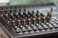 Amplifier and equalizer mixer switch of sound equpiment Royalty Free Stock Photo