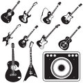 Amplifier and guitar set of icons Royalty Free Stock Photo