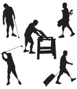 Amputee silhouettes leg engaged in various activities including golfing sawing and traveling Royalty Free Stock Photos